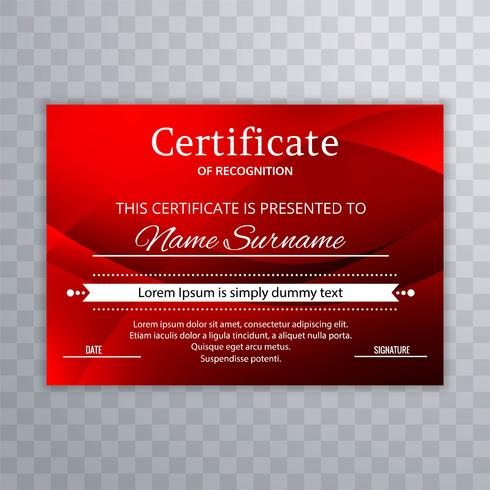 Modern red certificate template background illustration