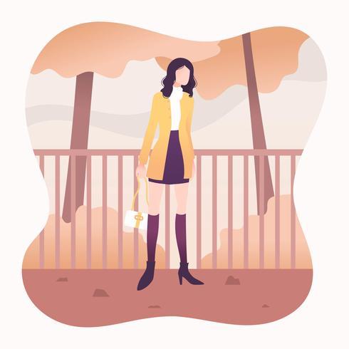 Girl In Fall Fashion Vector