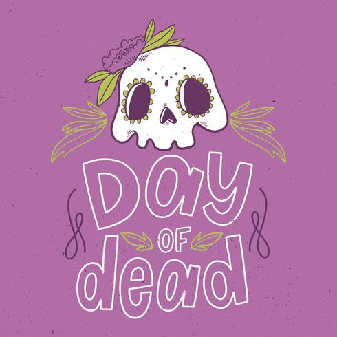 Cute Skull With Flowers  vector