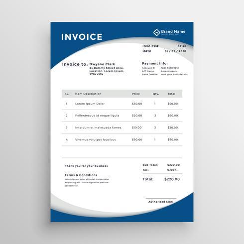 modèle de facture professionnelle bleu