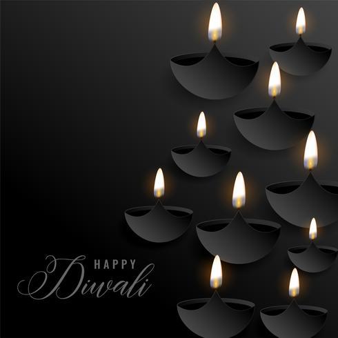 donkere diwali achtergrond met zwevende diyas