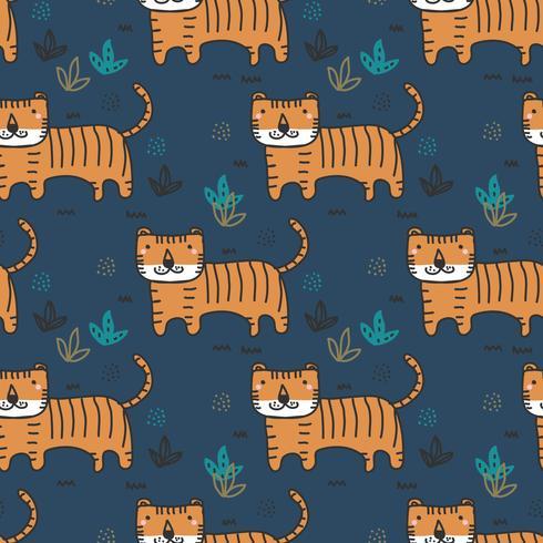 Doodle tigre padrão Vector