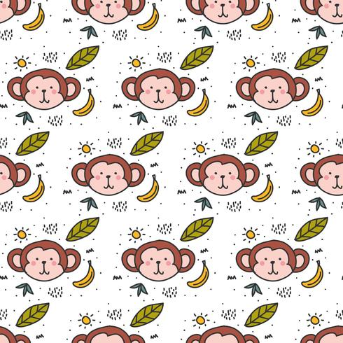 Monkey Doodle Pattern Vector