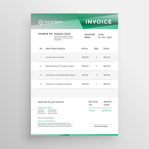 abstract business invoice template design