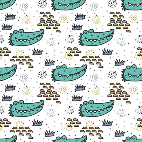 Crocodile Doodle Pattern Vecteur