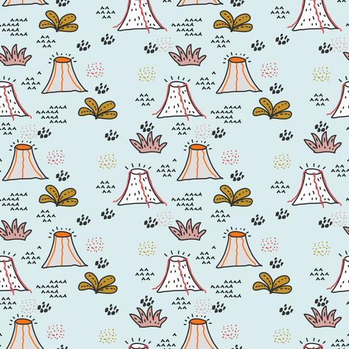 Volcano Doodle Pattern Vector