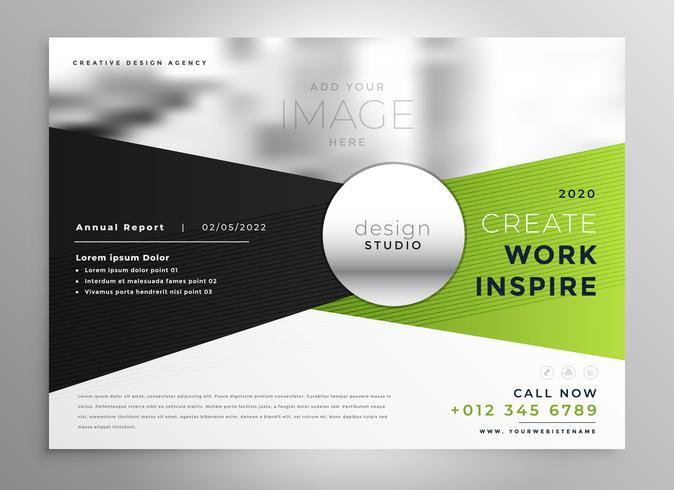 design de brochura comercial em tons de verde e preto
