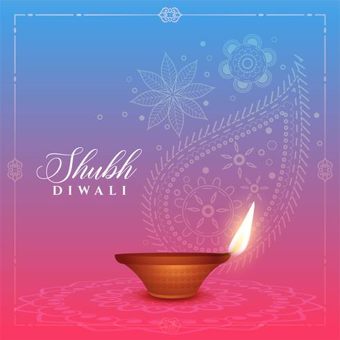 fundo bonito diwali com design diya e paisley