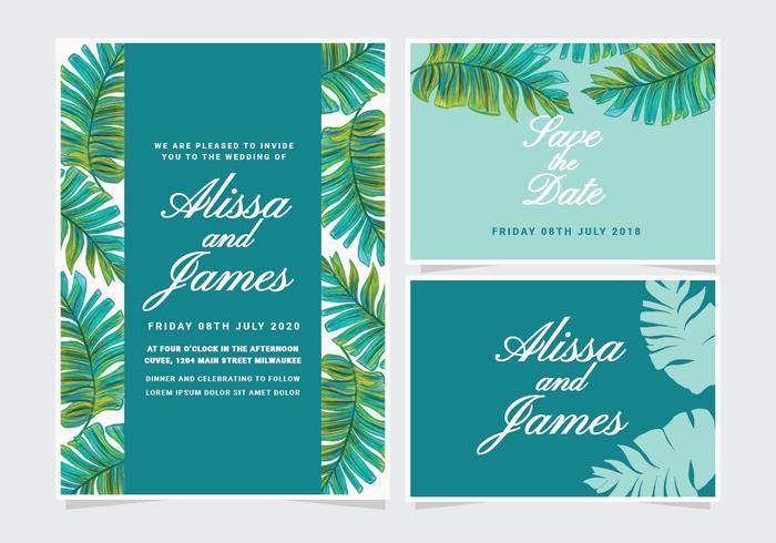 Vector Banana Leaf Wedding Invitation