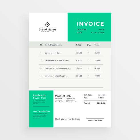 simple green invoice template design