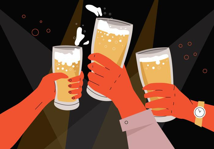 Beer Cheers In Office Parties and gathering Vector Flat Illustration