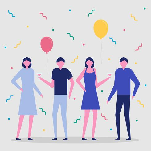 People Celebrating Party Vector Illustration