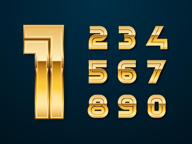 Golden Bold Numbers Vector Set