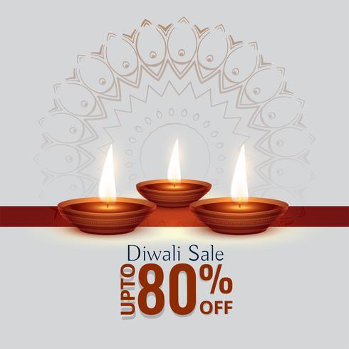 festival de vente de diwali fond avec trois diya