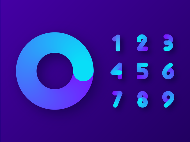 Colorful Gradient Fluid Numbers