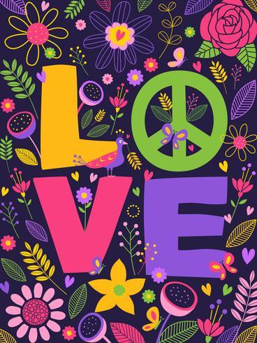 Paz y amor ilustración vectorial letras vector