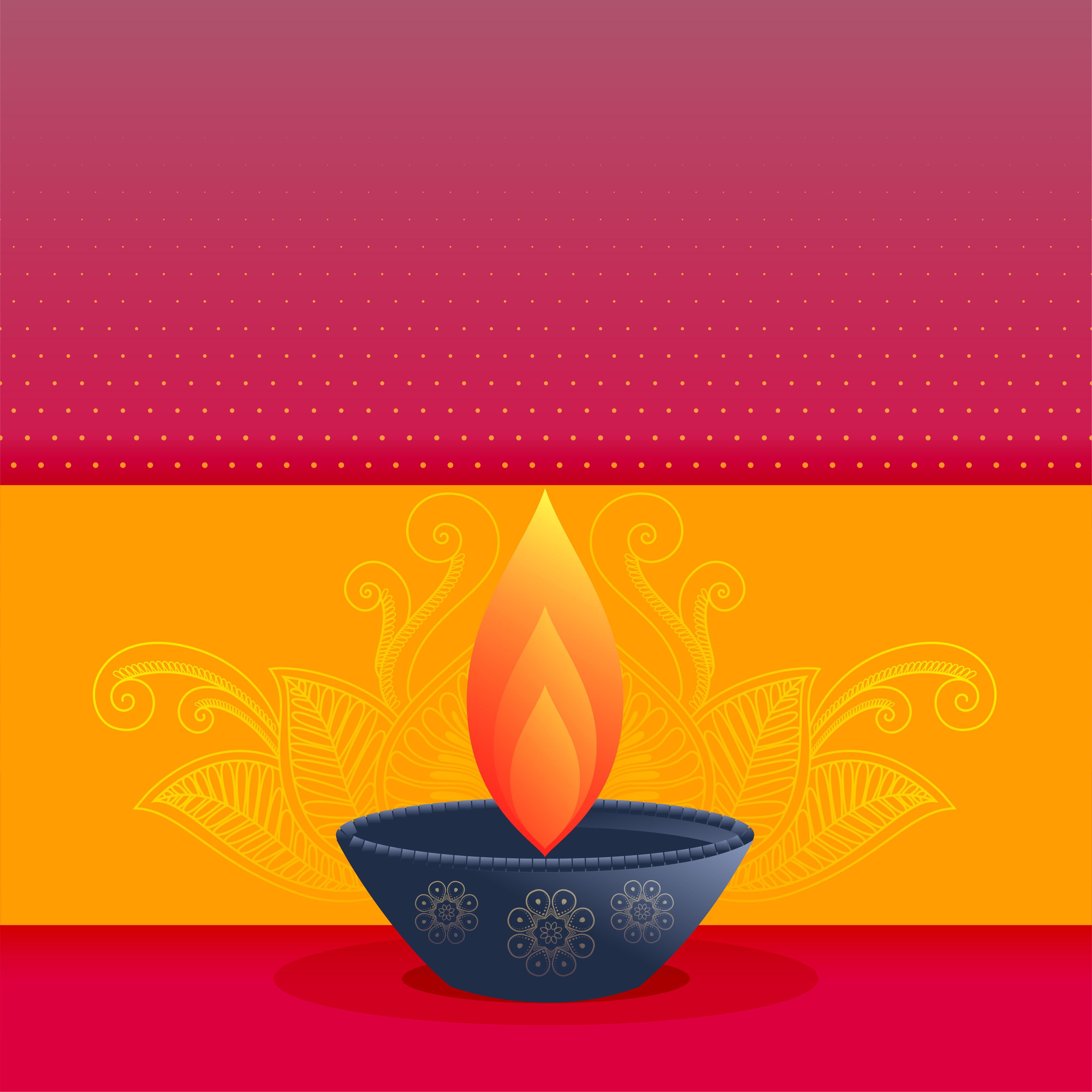 Elegant Diwali Festival Greeting Card Design With Diya Download