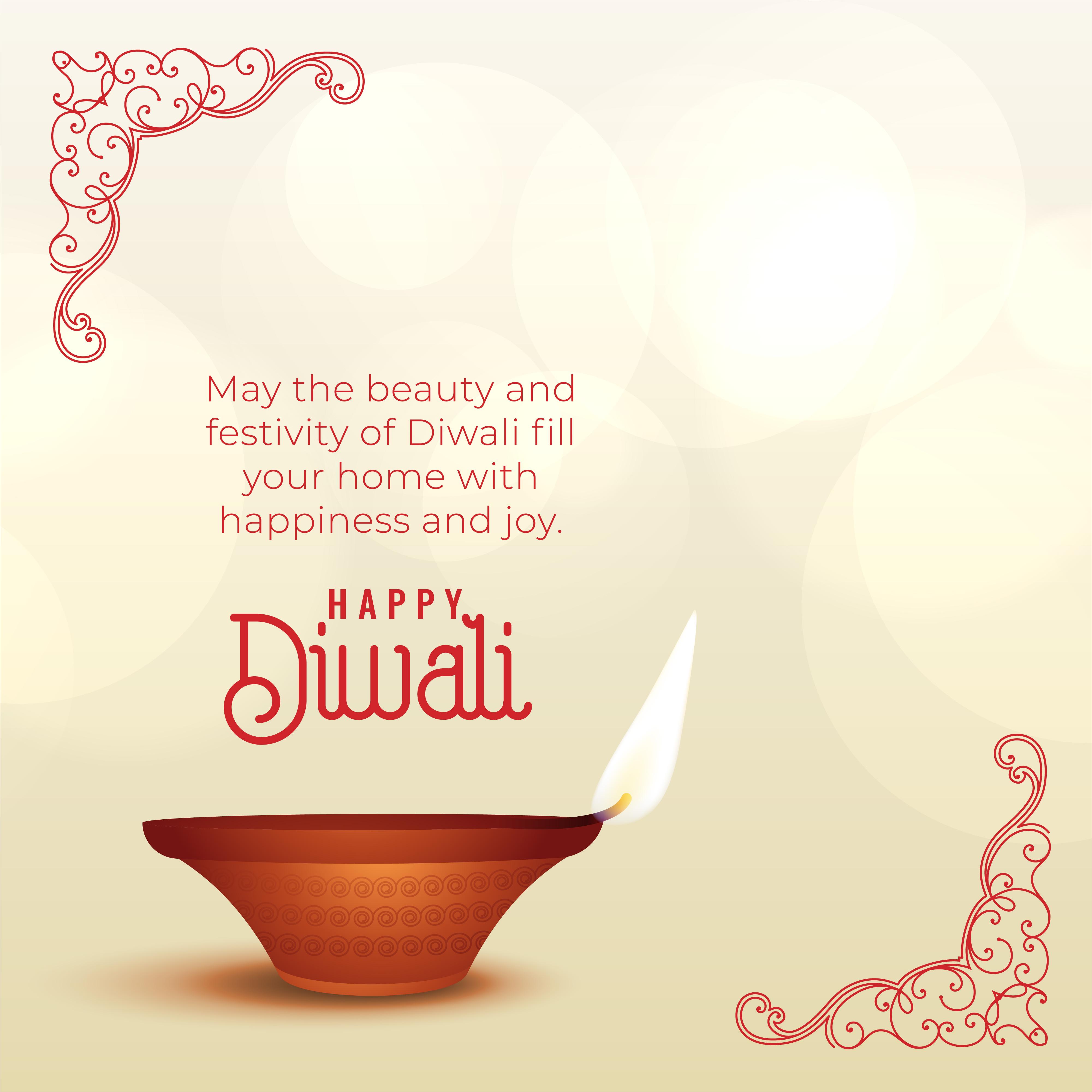 Beautiful Diwali Wishes Greeting With Diya Download Free Vector