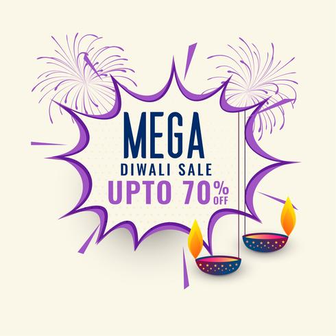 diseño de plantilla de mega diwali venta banner