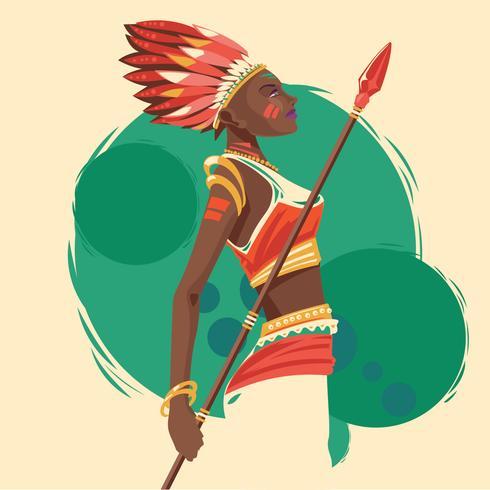 Mujeres indias con lanzas