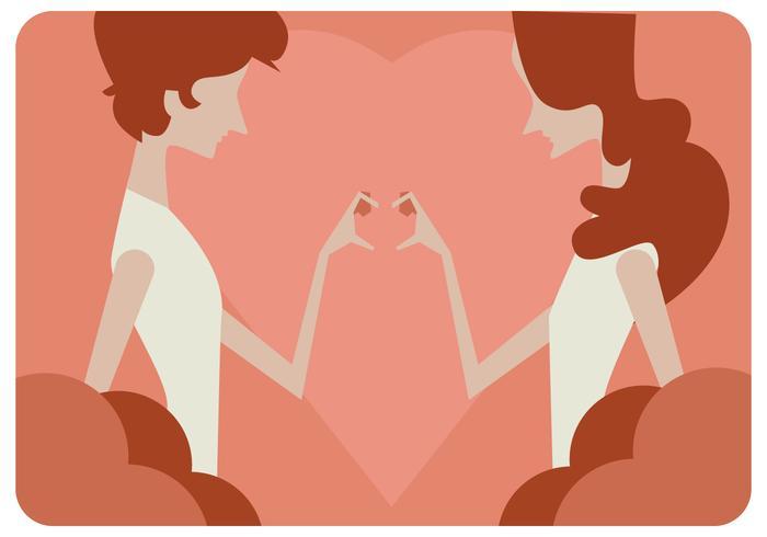 Meninas mãos amor sinal vector