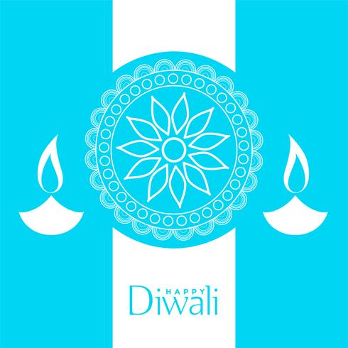 blue happy diwali background design