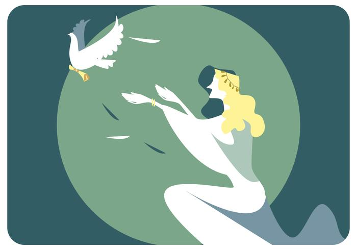 Woman And Peace Bird Vector