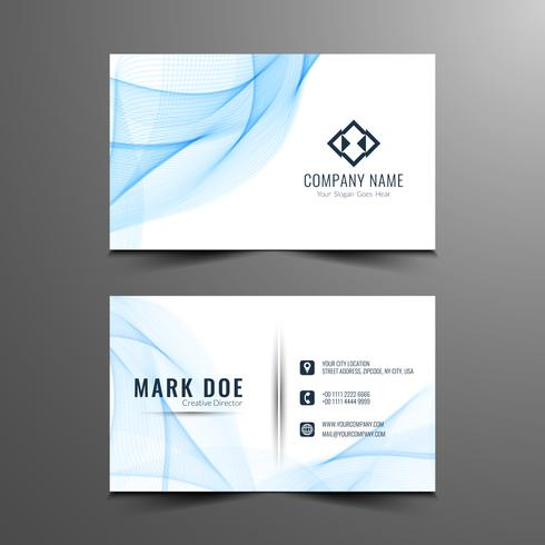 Abstract stylish wavy business card design vector