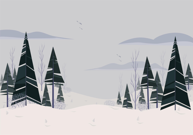 Landscape Illustration Vector Free: Vector Beautiful Winter Landscape Illustration