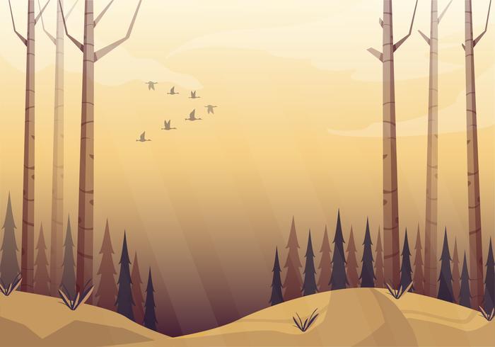 Illustration de beau paysage d'automne de vecteur