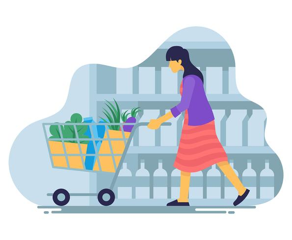 Grocery Shopping Illustration
