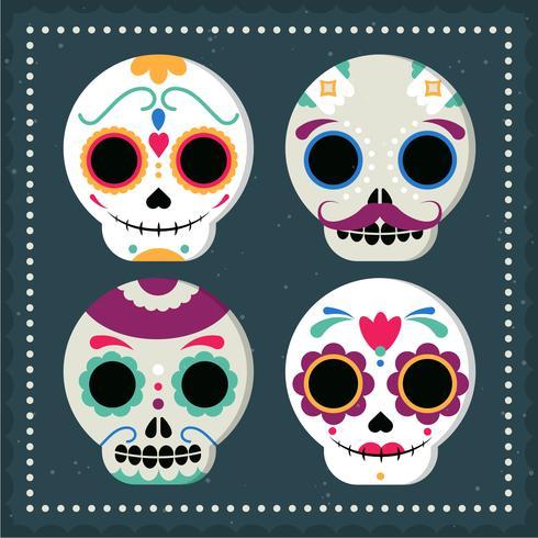 Illustration de masque de crâne mexicain de vecteur