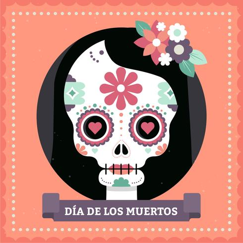 Vector Mexican Skull Mask Illustration