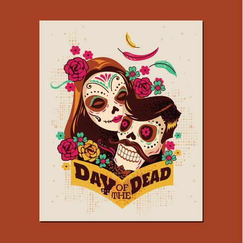 Festival de la pareja del día de los muertos vector