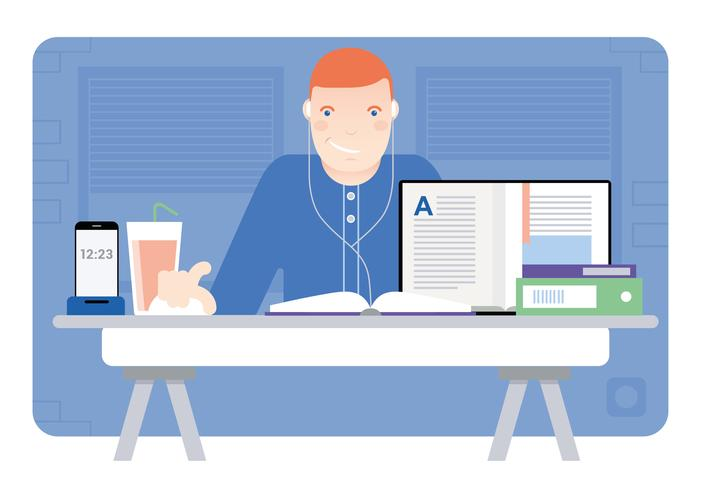 Vetorial, escritório, sala, ilustração