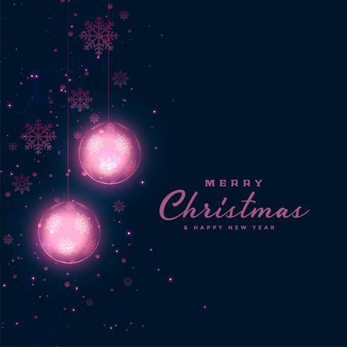 fundo escuro do festival de Natal com bolas brilhantes e snowfl