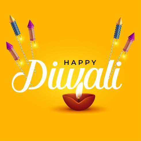 Glad diwali elegant design med diya och raket cracker