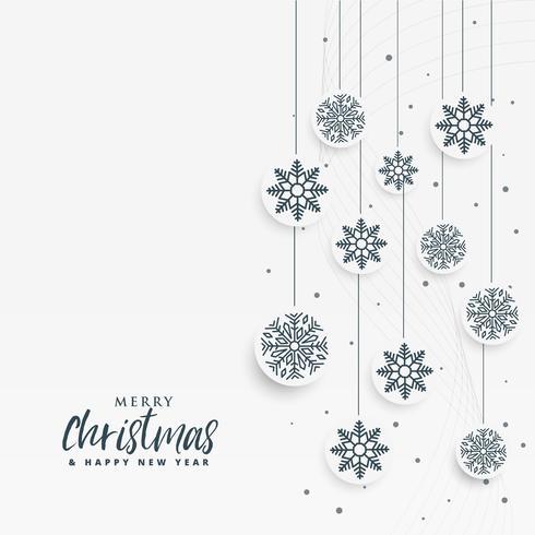 minimaler weißer Weihnachtshintergrund mit Schneeflockendekoration