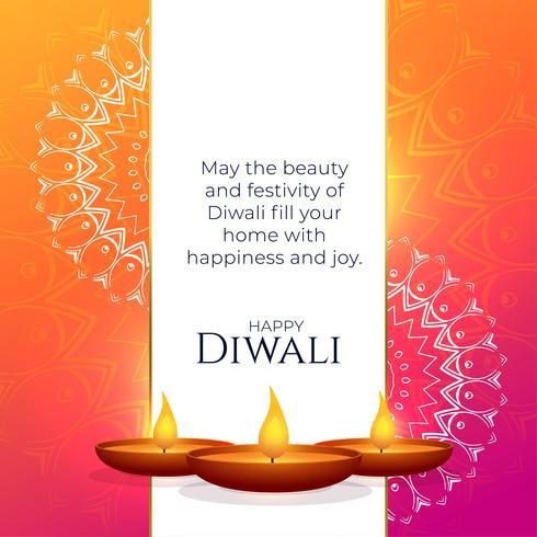 levendige diwali groet ontwerp met mandala decoratie en diya