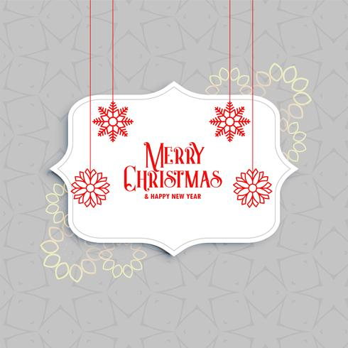 elegant merry christmas greeting with snowflakes decoration