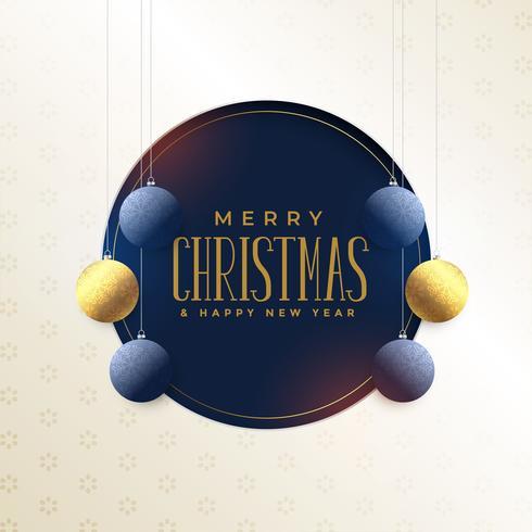 design de cartão de feliz Natal com flocos de neve de suspensão