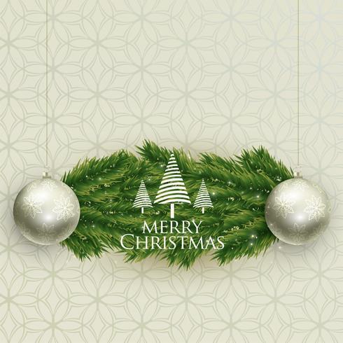 bolas de Natal realista e folhas de árvore backgroung