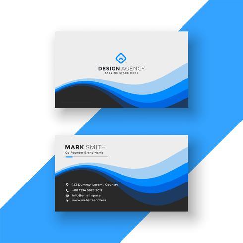 design creativo biglietto da visita blu ondulato