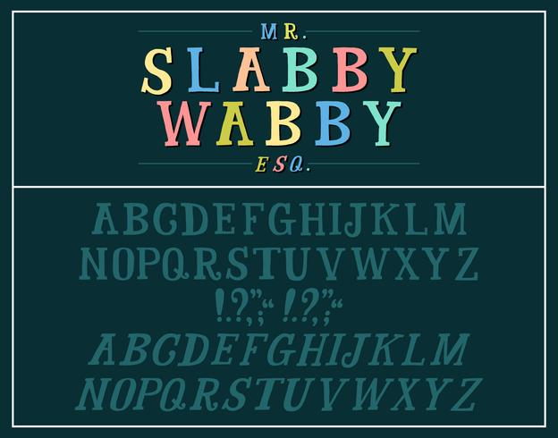 Handtecknat plåt serif alfabet vektor