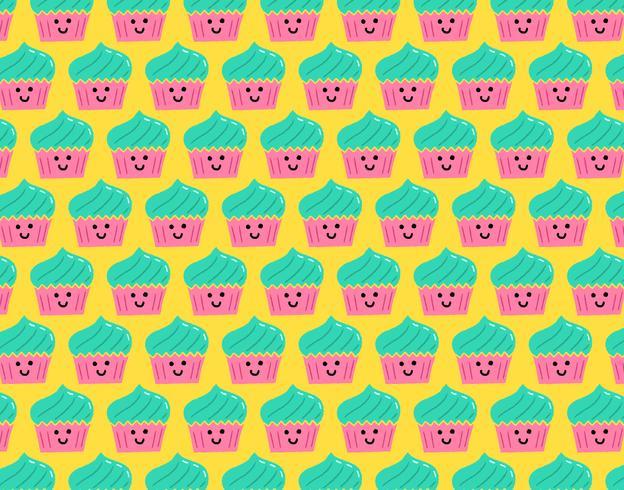 nahtloses Muster des glücklichen smiley-kleinen Kuchens