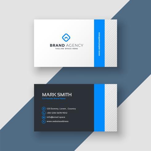 modèle de carte de visite de style minimal professionnel bleu