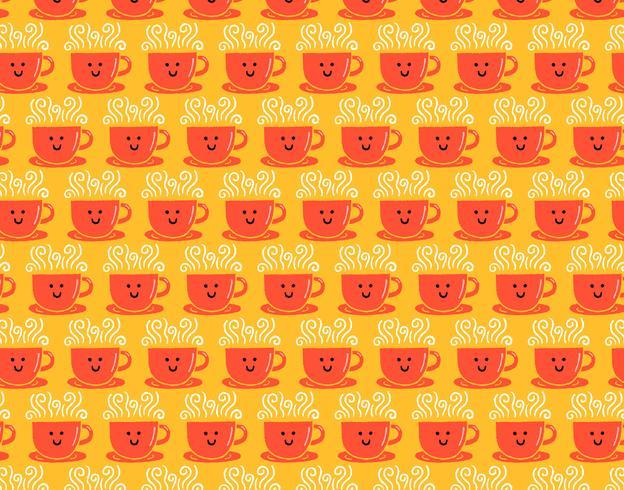 padrão sem emenda de xícara de café sorridente
