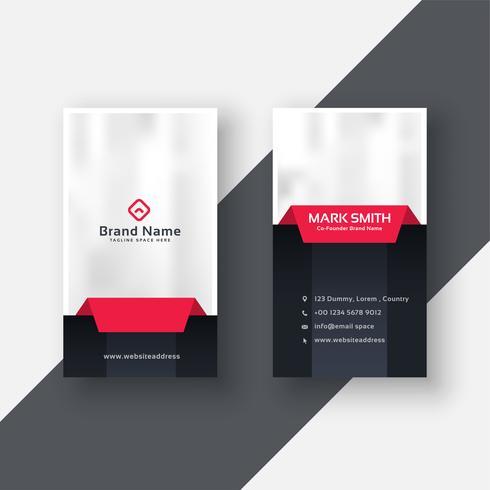 Tarjeta profesional profesional vertical diseño moderno en rojo negro t