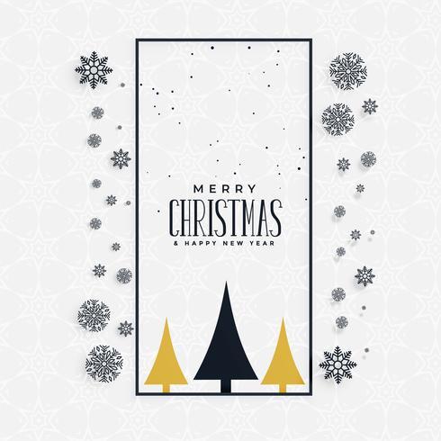 elegante design de conceito de saudação de Natal com flocos de neve e tr