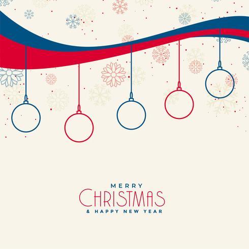 fundo de Natal com flocos de neve e decoração de bolas de linha